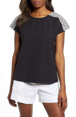 Caslon Embroidered Shoulder Top