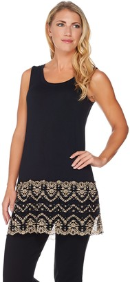 Logo By Lori Goldstein LOGO by Lori Goldstein Knit Tank with Two-Toned Lace Trim