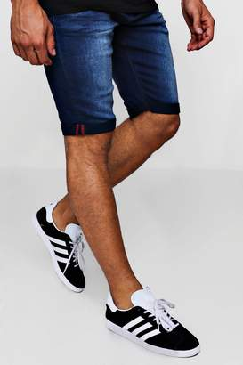 boohoo Slim Fit Denim Short With Turn Up