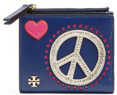 Tory BurchWomen's Tory Burch Peace & Love Mini Leather Wallet - Blue