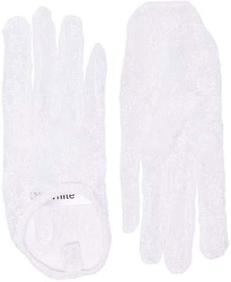 Off-White white short lace gloves