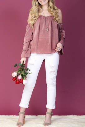 Llove Usa Pink Ruffle-Sleeve Top
