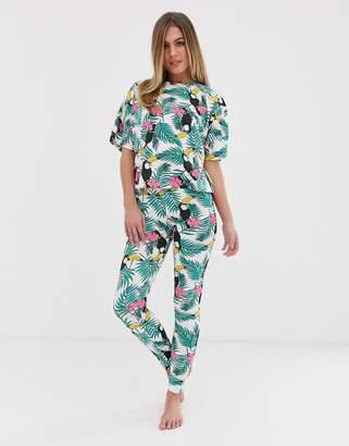 Asos Design DESIGN palm & toucan pyjama legging set