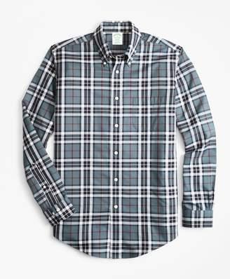 Brooks Brothers Non-Iron Milano Fit Grey Tartan Sport Shirt