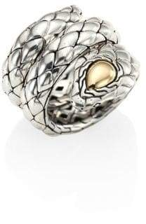John Hardy Cobra Sterling Silver& 18K Yellow Gold Ring
