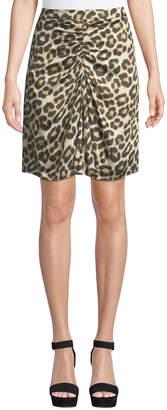 Velvet by Graham & Spencer Kelsey Ruched Satin Leopard-Print Skirt