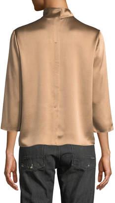 Vince 3/4-Sleeve Mock-Neck Silk Blouse