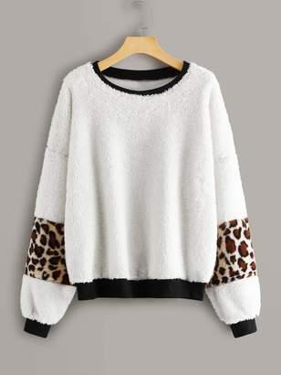 Shein Contrast Leopard Print Teddy Sweatshirt