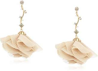 Badgley Mischka Pink Fabric Flower Drop Earrings