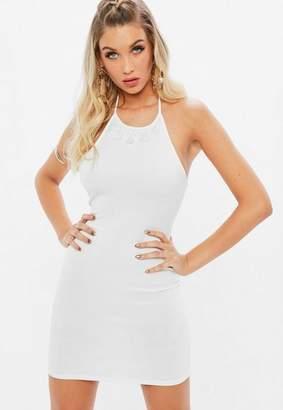 Missguided White Scuba 90s Neck Lace Frill Hem Dress