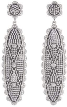 Freida Rothman Two-Tone Rhodium Vermeil CZ Pave Signet Long Drop Earrings