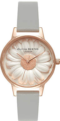 Olivia Burton OB15EG50 Women's Flower Show 3D Daisy Leather Strap Watch, Grey/Rose Gold