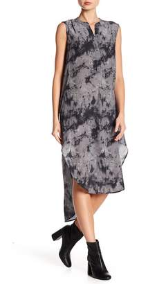 Acrobat Marble Print Button Silk Dress