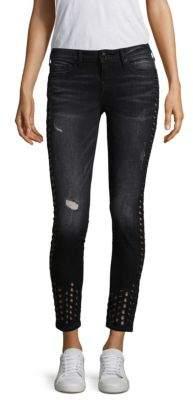 True Religion Halle Mid-Rise Super Skinny Grommet Jeans