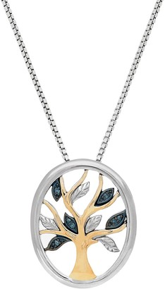Two Tone Sterling Silver Blue Diamond Accent Tree Pendant Necklace