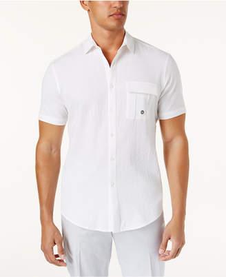 INC International Concepts I.n.c. Men's Stretch Seersucker Short Sleeve Utility Shirt, Created for Macy's