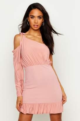 boohoo One Sleeve Shirred Bodycon Mini Dress