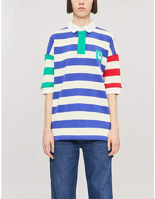 Benetton Striped collared cotton polo shirt