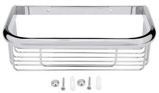 Unique Bargains 10-inch Brass Rectangle Shape Bathroom Shower Caddy Basket Silver Tone