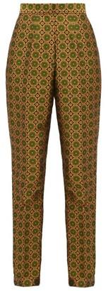 Saloni Maxima High Rise Jacquard Trousers - Womens - Green Multi