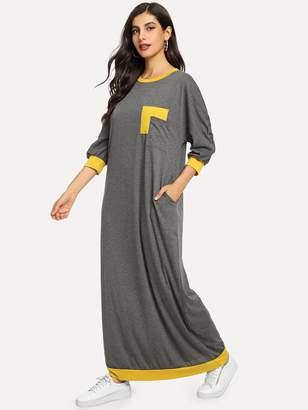 Shein Pocket Patched Contrast Trim Maxi Dress
