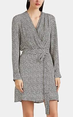 L'Agence Women's Diego Heart-Print Silk Wrap-Effect Dress