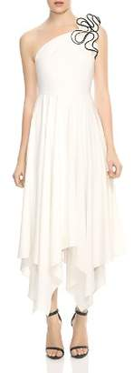 Halston One-Shoulder Ruffled Strap Dress