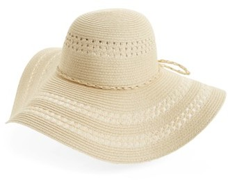 Women's Fits Floppy Woven Straw Hat - White $22 thestylecure.com