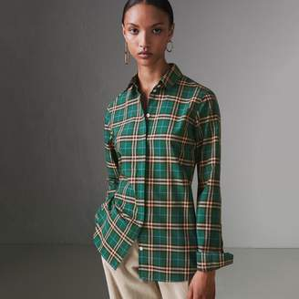 Burberry Check Cotton Shirt , Size: 06, Green