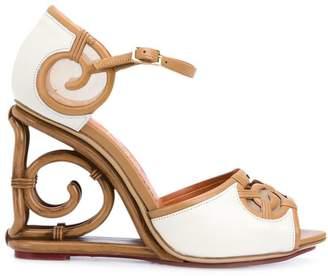 Charlotte Olympia rattan wedge sandals