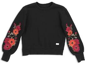 7 For All Mankind Girls' Floral-Embroidered Sweatshirt - Big Kid