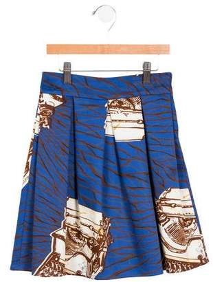 Stella Jean Girls' Pleated Typewriter Print Skirt w/ Tags