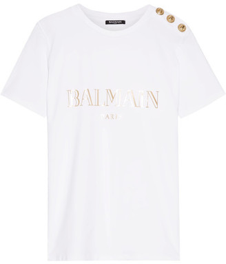 Balmain - Button-embellished Printed Cotton-jersey T-shirt - White $285 thestylecure.com