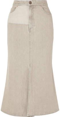 See by Chloe Two-tone Denim Midi Skirt - Beige