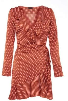 Quiz Womens *Quiz Towie Rust Polka Dot Wrap Dress