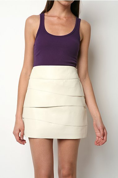 Silence & Noise Tiered Faux Leather Skirt