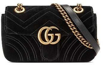 Gucci Small Gg Marmont 2.0 Matelasse Velvet Shoulder Bag - Black