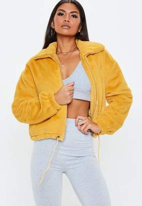 Missguided Mustard Faux Fur Bomber Jacket