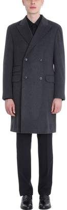 Ermenegildo Zegna Grey Wool Double Breasted Coat