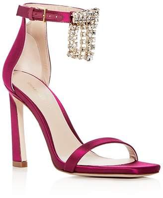 Stuart Weitzman Women's 100Fringesquarenudist Satin Embellished High-Heel Ankle Strap Sandals