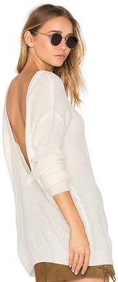 Bobi Cashmere V Back Sweater in White $79 thestylecure.com