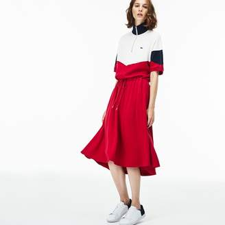 Lacoste Women's Fitted Colorblock Terrycloth Pique Polo Dress