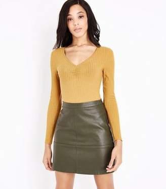 New Look Tall Dark Green Leather-Look Mini Skirt