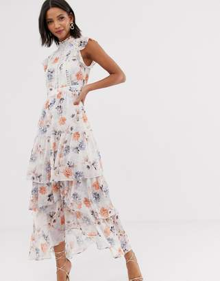 Forever New floral print tiered maxi dress in multi