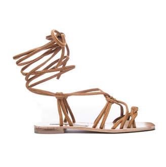MUMU Tori Wrap Up Sandals ~ Camel