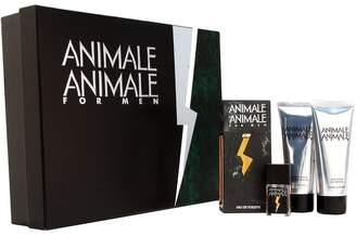 Parlux Animale Animale by for Men 4 Piece set Includes: 3.4 oz. Eau De Toilette Spray + 3.4 oz. After shave Balm + 3.4 oz. hair & Body Wash + 0.25 oz. Eau De Toilette Spray