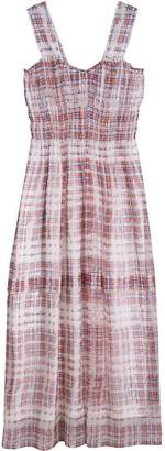 Burberry Gathered Scribble Check Silk Dress