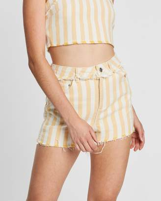 Topshop Striped Mom Shorts