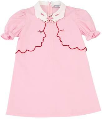 Embellished Cotton Poplin Dress