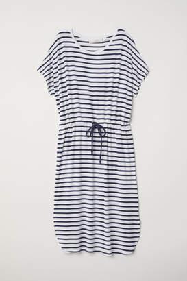 H&M Jersey Dress with Drawstring - White